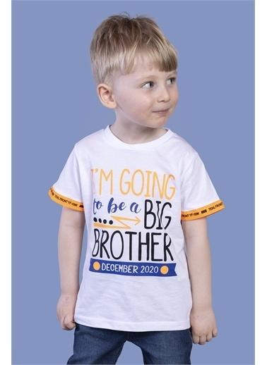 Toontoy Kids Toontoy Erkek Çocuk Kolları Neon Şerit Detaylı Baskılı Tişört Beyaz